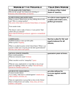 Worksheets Preamble Worksheet u s constitution preamble by kristen dembroski nbct worksheet dbq students write in own words