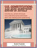U.S. Constitution Quiz Questions --128 Questions separated by Article