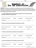 US Constitution Research Scavenger Hunt
