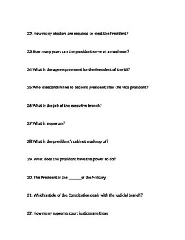 US Constitution Study Guide