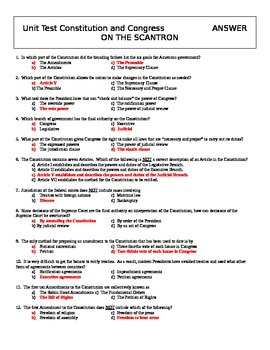 US Constitution Test with Key