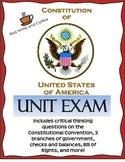 US Constitution Unit Exam