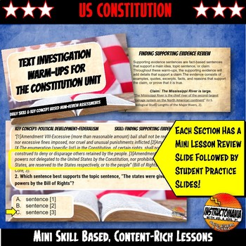 US Constitution Unit Warm-Ups Skill Based, Mini Lessons, Bell Ringer Activities