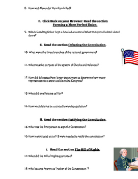 US Constitution Webquest