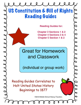 US Constitution and Bill of Rights Reading Guides for Holt textbook