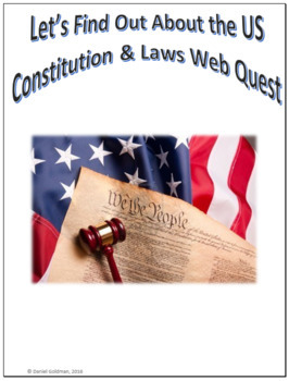 US Constitution and Laws Webquest Scavenger Hunt Common Core Activity