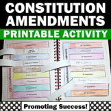 Constitution Day Activities, Constitutional Amendments, Interactive Notebook