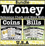 US Currency Money Reference Charts Word Walls Bundle