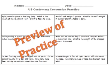 US Customary Conversions Word Problems 4th Grade