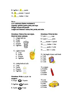 U.S. Customary System worksheets