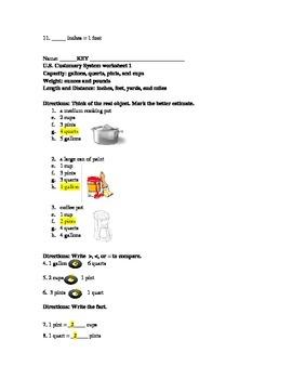 U.S. Customary System worksheets