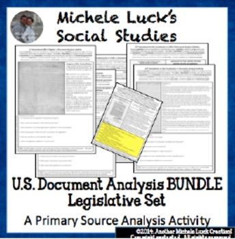 U.S. Document Analysis BUNDLE - Legislative Set of Acts, Amendments, Resolutions