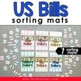 US Dollar Bills Sorting Mats [6 mats included] | US Money
