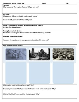 US End of War w/ Review of Progressive Era to WWI Stations Review