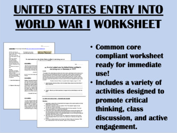 US Entry into World War I - US/Global/World History Common Core