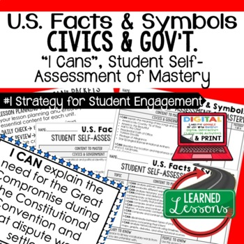 US Facts and Symbols I Cans, Self-Assessment of Mastery, CIVICS