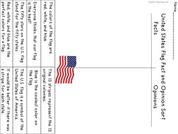 U.S. Flag Fact and Opinion Sort Freebie