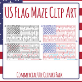 US Flag Maze Clip Art for Commercial Use