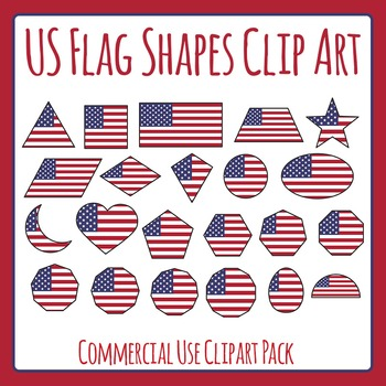 US Flag Shapes Clip Art Set for Commercial Use