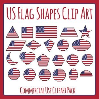 US Flag Shapes Clip Art Set for Commercial Use