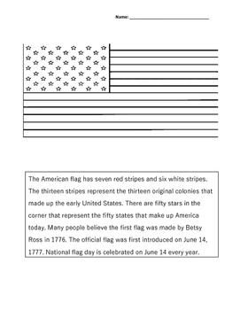 US Flag coloring sheet