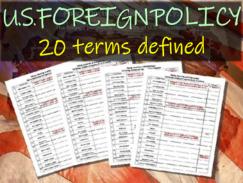 U.S. Foreign Policy 46-slide PPT and graphic organizer (20 terms defined & more)