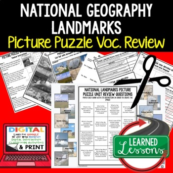 US Geographic Landmarks Picture Puzzle Unit Review, Study Guide, Test Prep