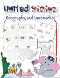 US Geography 50 States Identify Map and 3D Pop up Landmark