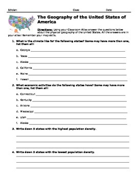 US Geography Atlas Worksheets