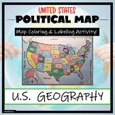 US Political Map Activity- Label and Color the 50 States!