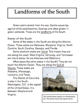 US Geography Leveled Readings South