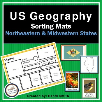 US Geography Sorting Mats: Northeastern and Midwestern States