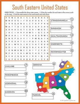 US Geography Worksheet - South Eastern United States
