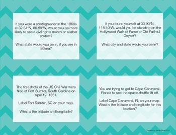 US Geography Task Cards-- Latitude & Longitude