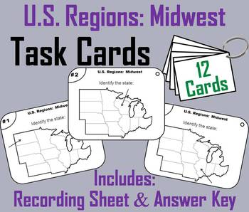 US Geography Task Cards: Midwest Region of the United States (Map ...