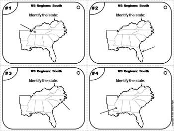 US Geography Task Cards: South & Southwest Regions of the United States