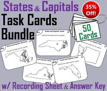 US Geography Unit: States and Capitals Task Cards Bundle