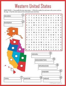US Geography Worksheet - Western United States