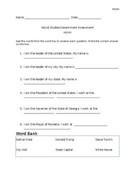 US Georgia Government Civics Assessment