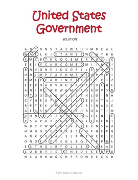 US Government Word Search Puzzle
