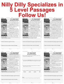 US Government 3branches Judicial Legislative Executive FACTS Close Read 5 Levels