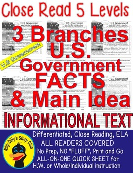 US GOVERNMENT 3 BRANCHES: Close Reading 5 LEVEL PASSAGES Main Idea Fluency TDQs