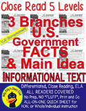 US GOVERNMENT 3 BRANCHES: Close Reading 5 LEVEL PASSAGES M