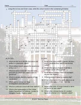 US Government-Citizenship Crossword Puzzle