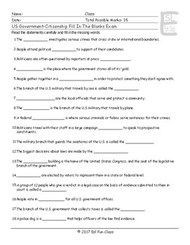 US Government-Citizenship Fill In The Blank Exam