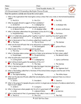 US Government-Citizenship Multiple Choice Exam