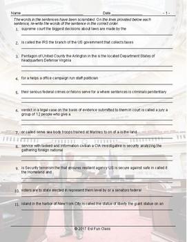 US Government-Citizenship Scrambled Worksheet