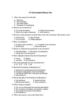 United States Government/Citizenship Test