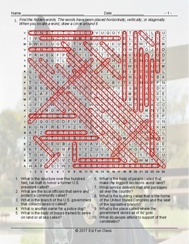 US Government-Citizenship Word Search Worksheet