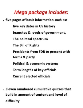 US Government:  Essential Facts with 8 cumulative quizzes